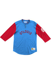 St Louis Cardinals Mitchell and Ness Franchise Player Henley Fashion T Shirt - Blue
