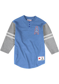 Houston Oilers Mitchell and Ness Henley Fashion T Shirt - Blue