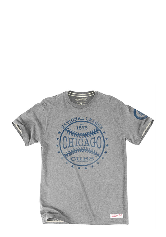 Mitchell and Ness Chicago Cubs Mens Grey Batted Ball Short Sleeve Fashion T Shirt - Image 1