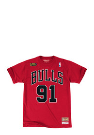 91b7845aa Dennis Rodman Chicago Bulls Red Traditional Player Tee