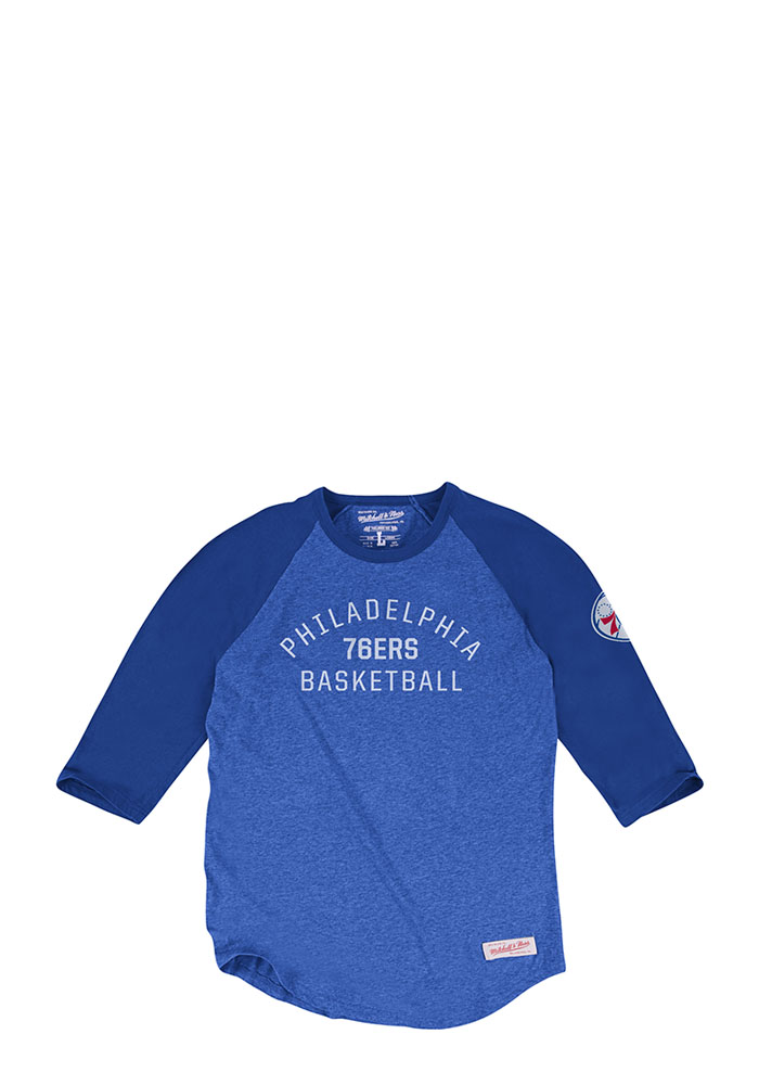 Mitchell and Ness Philadelphia 76ers Mens Blue Team Issued Long Sleeve Fashion T Shirt - Image 1
