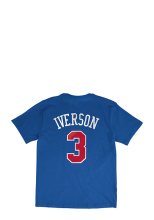 Allen Iverson Philadelphia 76ers Mens Blue Name and Number Player Tee