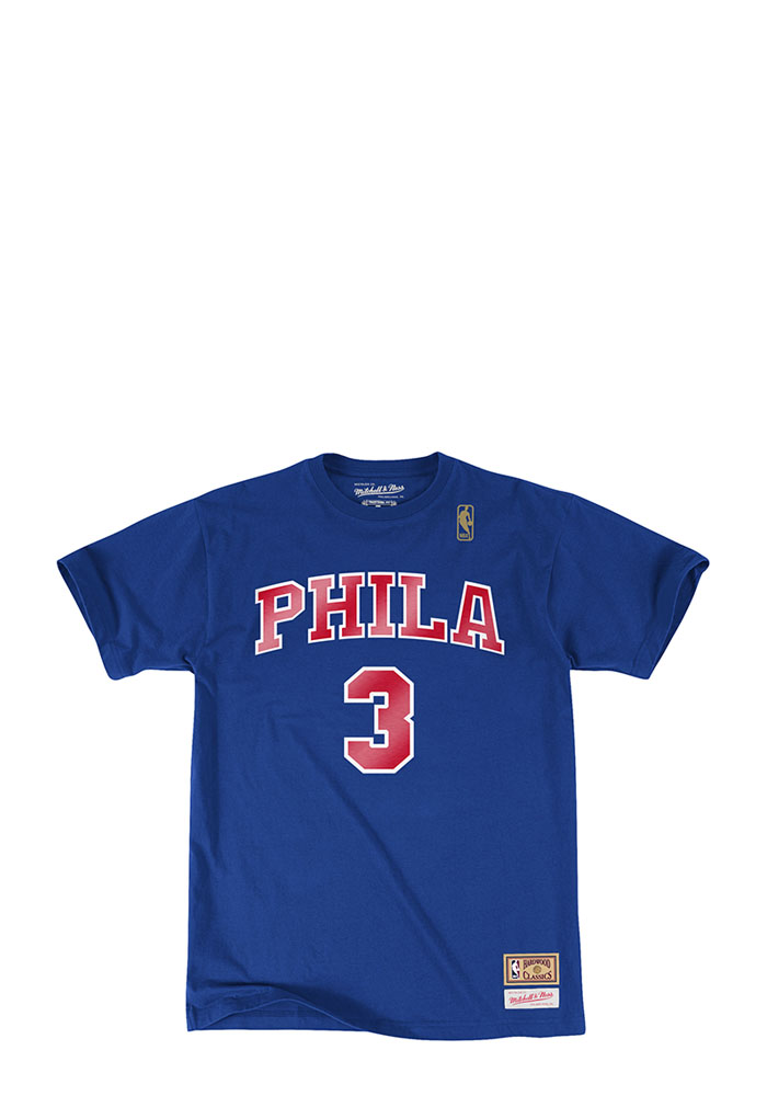 Allen Iverson Philadelphia 76ers Mens Blue Name and Number Short Sleeve Player T Shirt - Image 2