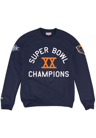 Mitchell and Ness Chicago Bears Mens Navy Blue Hometown Fashion Sweatshirt