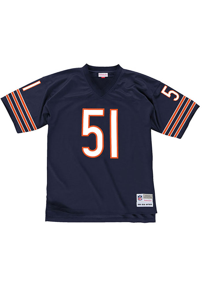 Dick Butkus Mitchell and Ness Chicago Bears Mens Navy Blue Replica Football Jersey - Image 2