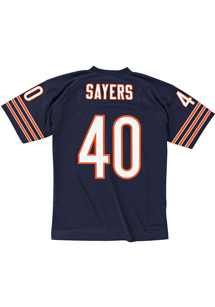 Gale Sayers Mitchell and Ness Chicago Bears Mens Navy Blue 1969 Replica Football Jersey - Image 1
