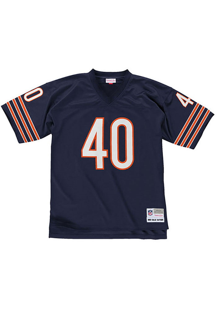 Gale Sayers Mitchell and Ness Chicago Bears Mens Navy Blue 1969 Replica Football Jersey - Image 2