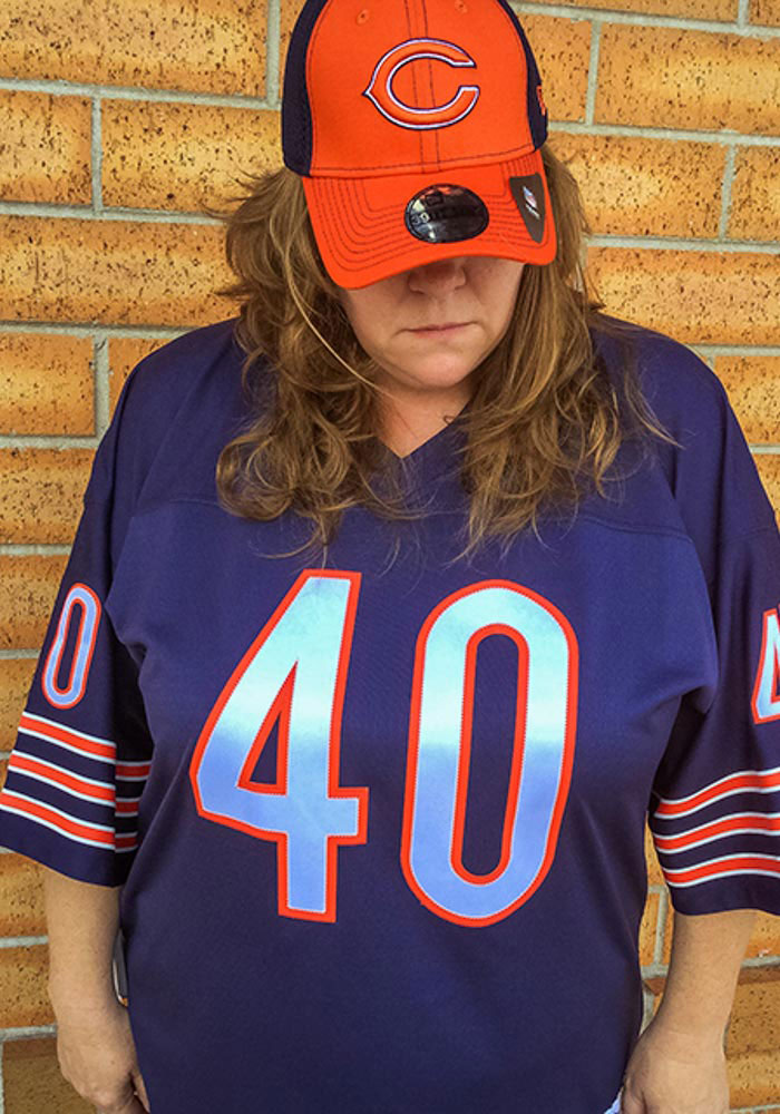Gale Sayers Mitchell and Ness Chicago Bears Mens Navy Blue 1969 Replica Football Jersey - Image 3