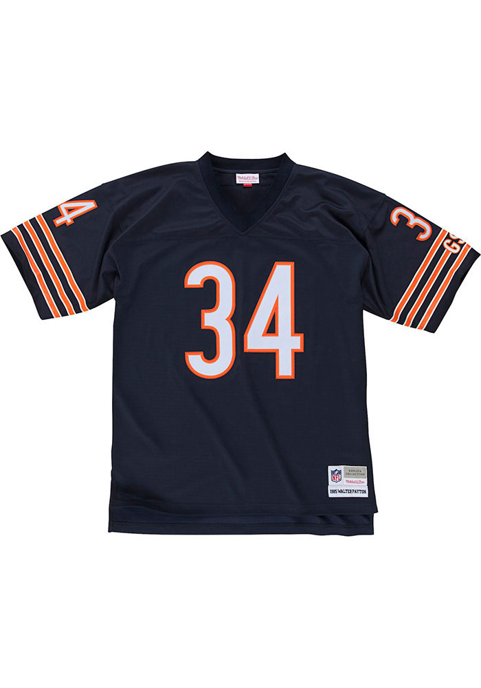 Walter Payton Mitchell and Ness Chicago Bears Mens Navy Blue 1985 Replica Football Jersey - Image 2