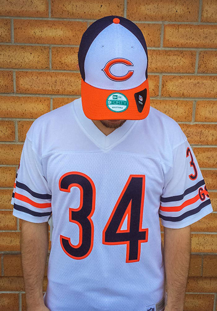 Walter Payton Mitchell and Ness Chicago Bears Mens White Replica Football Jersey - Image 4