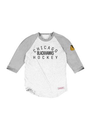 Mitchell and Ness Chicago Blackhawks Mens Grey Raglan Fashion Tee