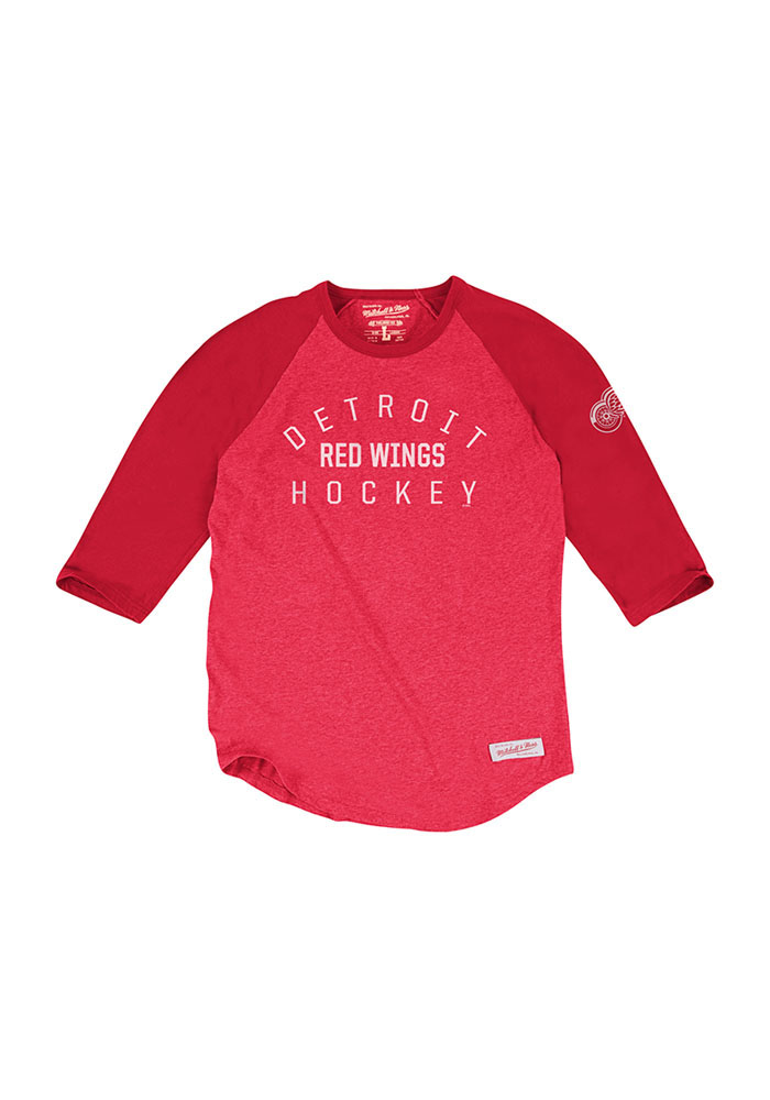 Mitchell and Ness Detroit Red Wings Red Team Issued Long Sleeve Fashion T Shirt - Image 1