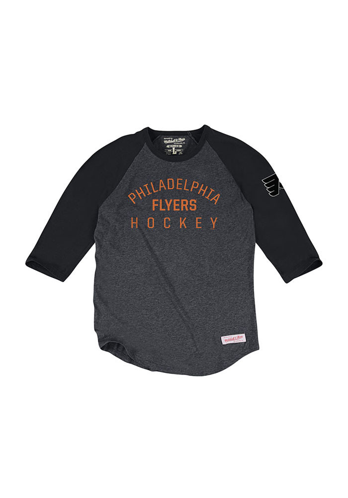 Mitchell and Ness Philadelphia Flyers Mens Black Team Issued Long Sleeve Fashion T Shirt - Image 1