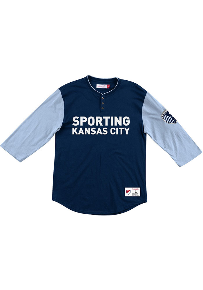 Mitchell and Ness Sporting Kansas City Navy Blue Henley Long Sleeve Fashion T Shirt - Image 1