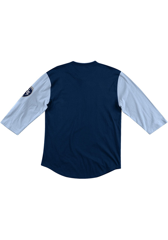 Mitchell and Ness Sporting Kansas City Navy Blue Henley Long Sleeve Fashion T Shirt - Image 2