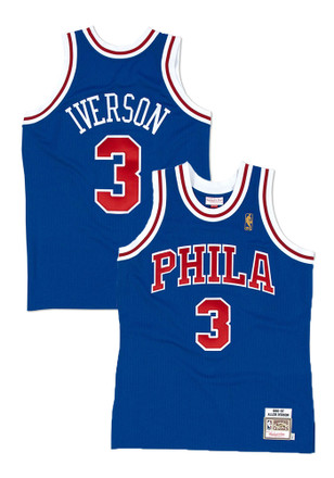 Allen Iverson Mitchell and Ness Philadelphia 76ers Mens Blue Authentic Collection Basketball Jersey