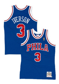 94268f9d497 Allen Iverson Mitchell and Ness Philadelphia 76ers Blue Authentic  Collection Basketball Jersey