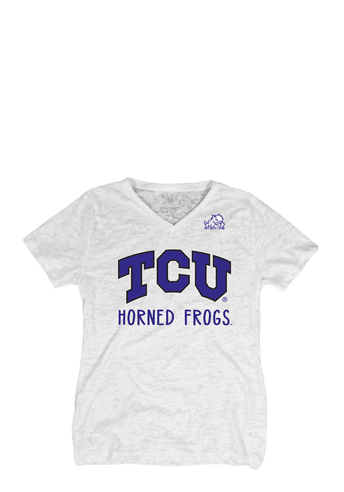 TCU Horned Frogs Womens White Burnout V-Neck - Image 1