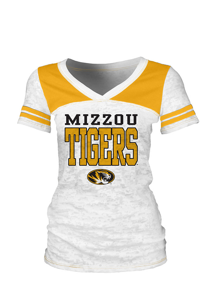 Missouri Tigers Womens White Burnout V-Neck T-Shirt - Image 1