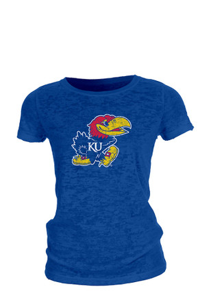 Kansas Jayhawks Womens Burnout Blue T-Shirt