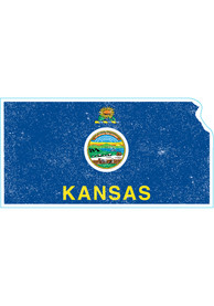 Kansas Weathered State Shape Flag Stickers