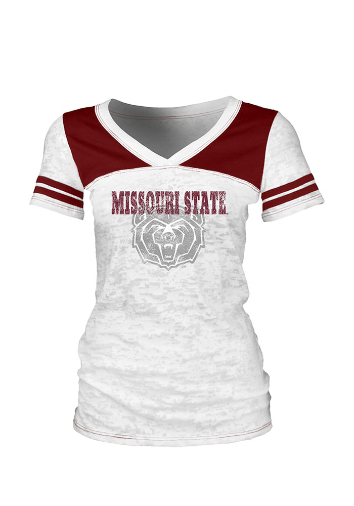Missouri State Bears Juniors White Quimby V-Neck T-Shirt - Image 1