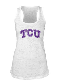 TCU Horned Frogs Juniors White Burnout Tank Top