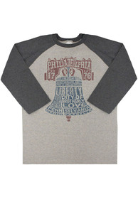 Philly Grey Liberty Bell Type Raglan 3/4 Sleeve T Shirt