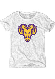 West Chester Golden Rams Womens White Ladies Burnout T-Shirt