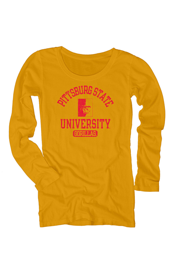 Pitt State Juniors Gold Danville Long Sleeve Scoop Neck 570942