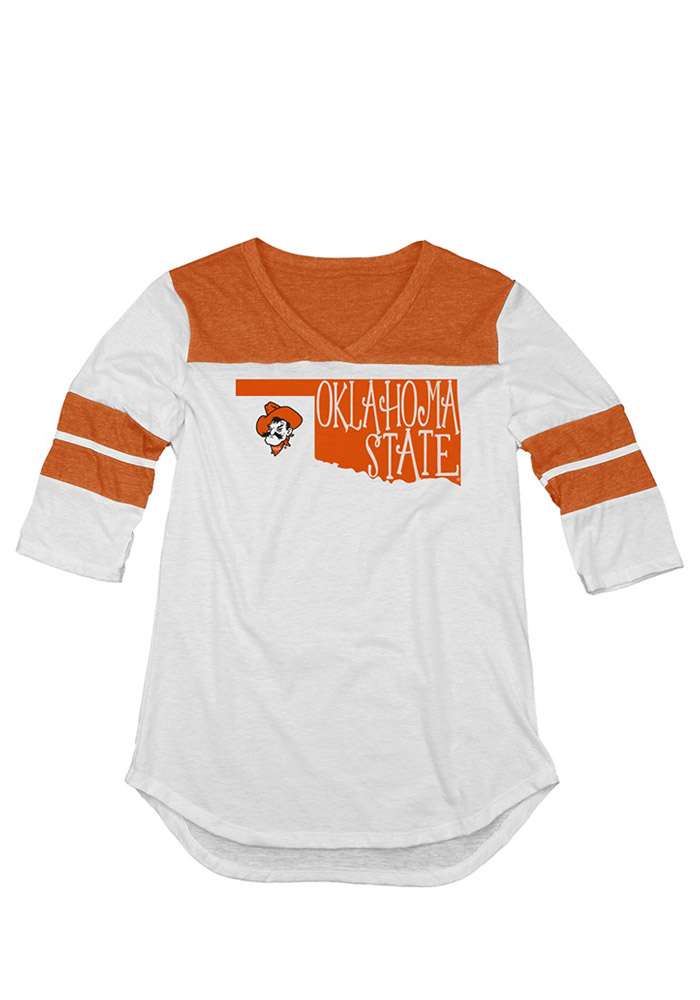 Oklahoma State Cowboys Juniors White Tri-Blend Long Sleeve Crew T-Shirt - Image 1