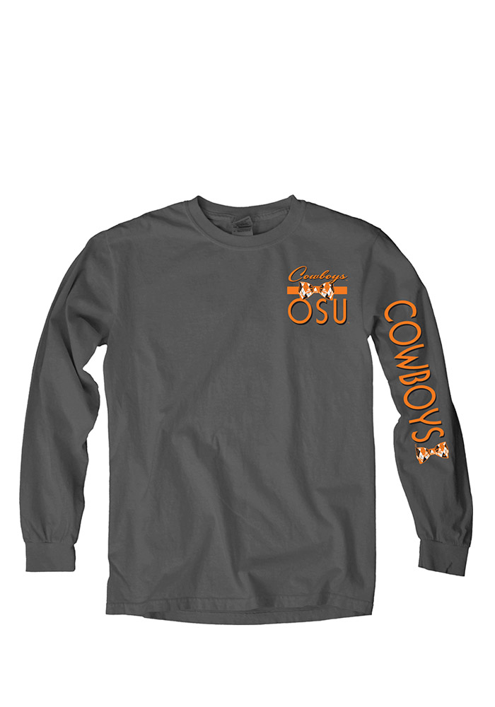 Oklahoma State Cowboys Womens Orange Charm School LS Tee - Image 1