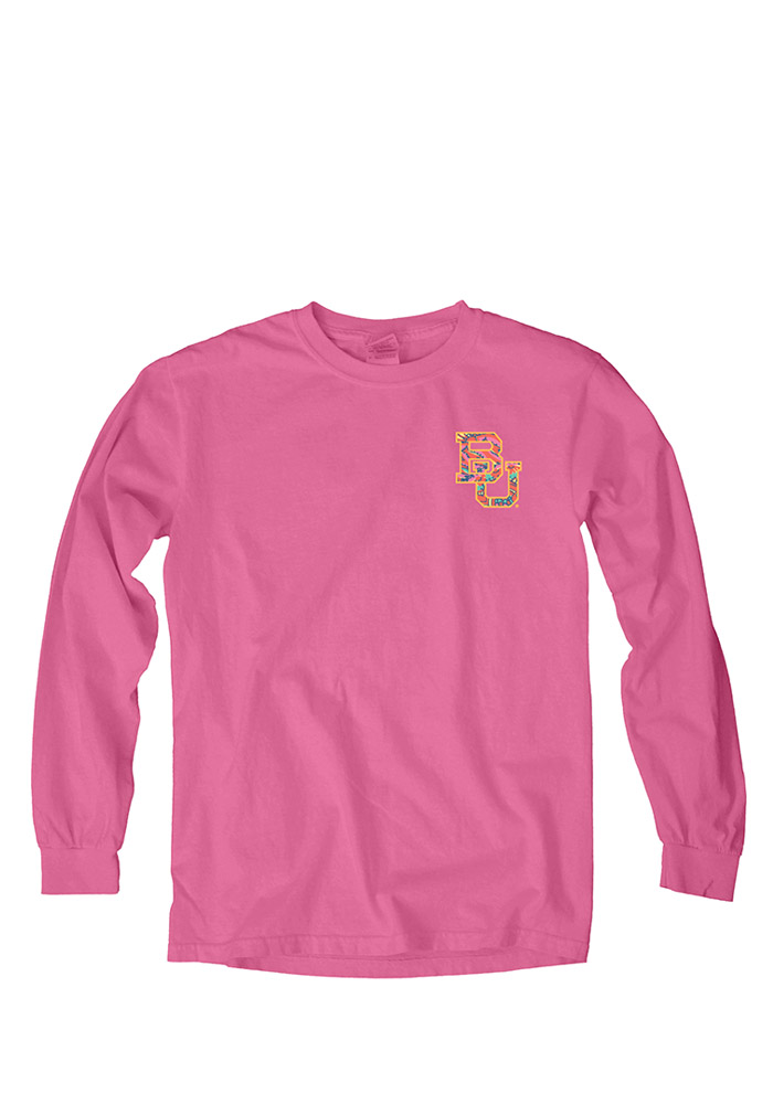 Baylor Bears Womens Pink Paisley Lily LS Tee - Image 1