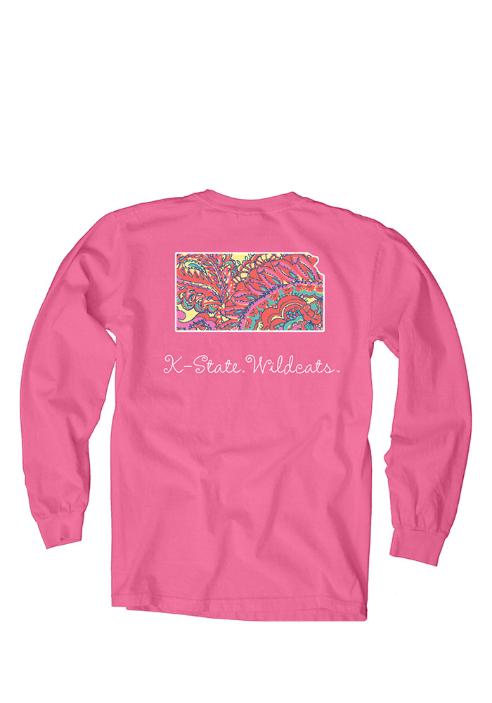 K-State Wildcats Womens Pink Paisley Lily LS Tee - Image 2