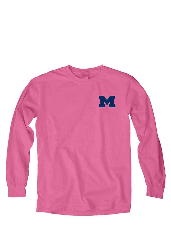 Michigan Wolverines Womens Pink Paisley Lily LS Tee - Image 1