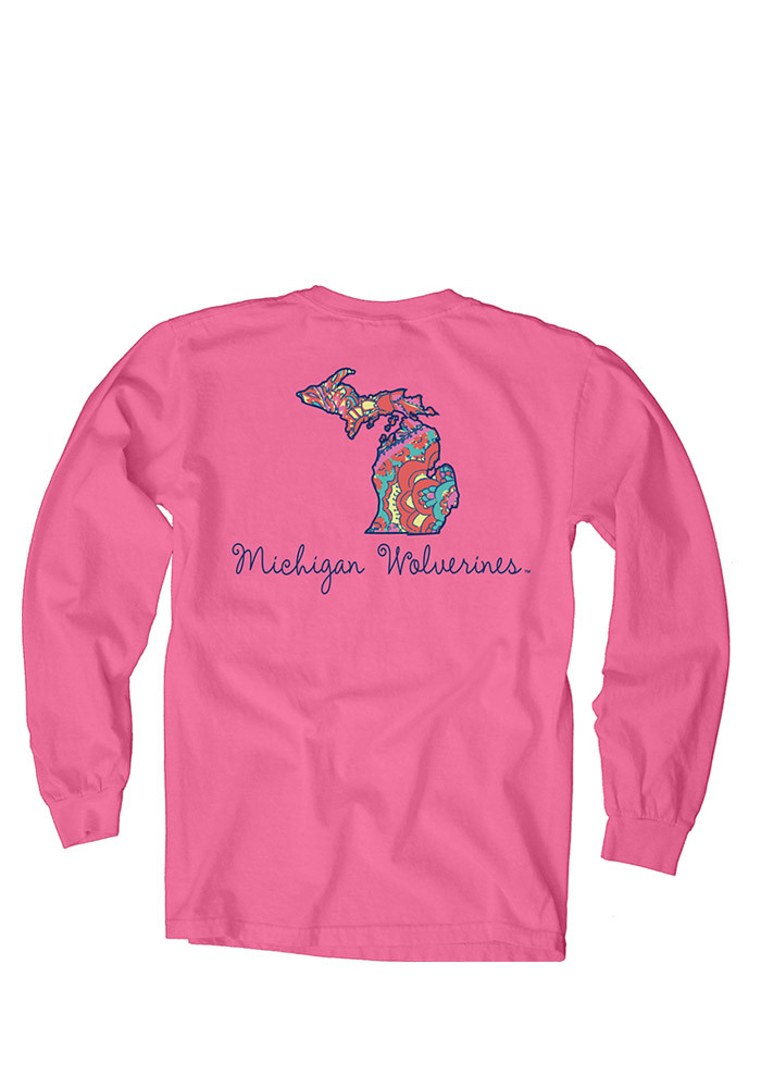 Michigan Wolverines Womens Pink Paisley Lily LS Tee - Image 2