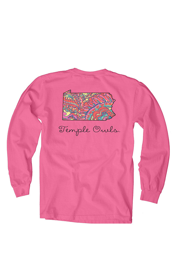 Temple Owls Womens Pink Paisley Lily LS Tee - Image 2