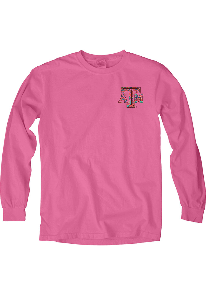 Texas A&M Aggies Womens Pink Paisley Lily LS Tee - Image 1