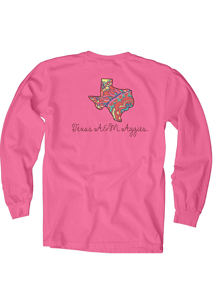 Texas A&M Aggies Womens Pink Paisley Lily LS Tee - Image 2