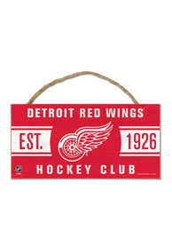 Detroit Red Wings 5x10 Hockey Club Wood Rope Sign