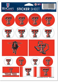 Texas Tech Red Raiders 5x7 Sheet of Stickers
