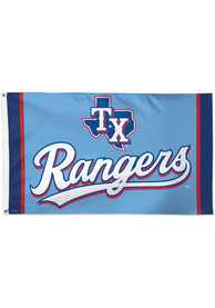 Texas Rangers Powder Blue Jersey 3x5 Deluxe Blue Silk Screen Grommet Flag