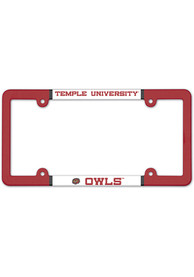 Temple Owls Full Color Plastic License Frame