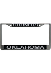 Oklahoma Sooners Inlaid Black and Silver License Frame