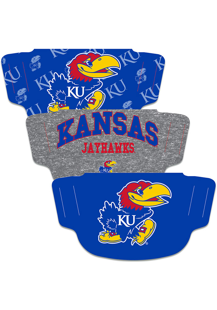 Kansas Jayhawks 3PK Fan Mask - Blue