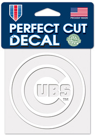 Chicago Cubs 4x4 White Auto Decal - White