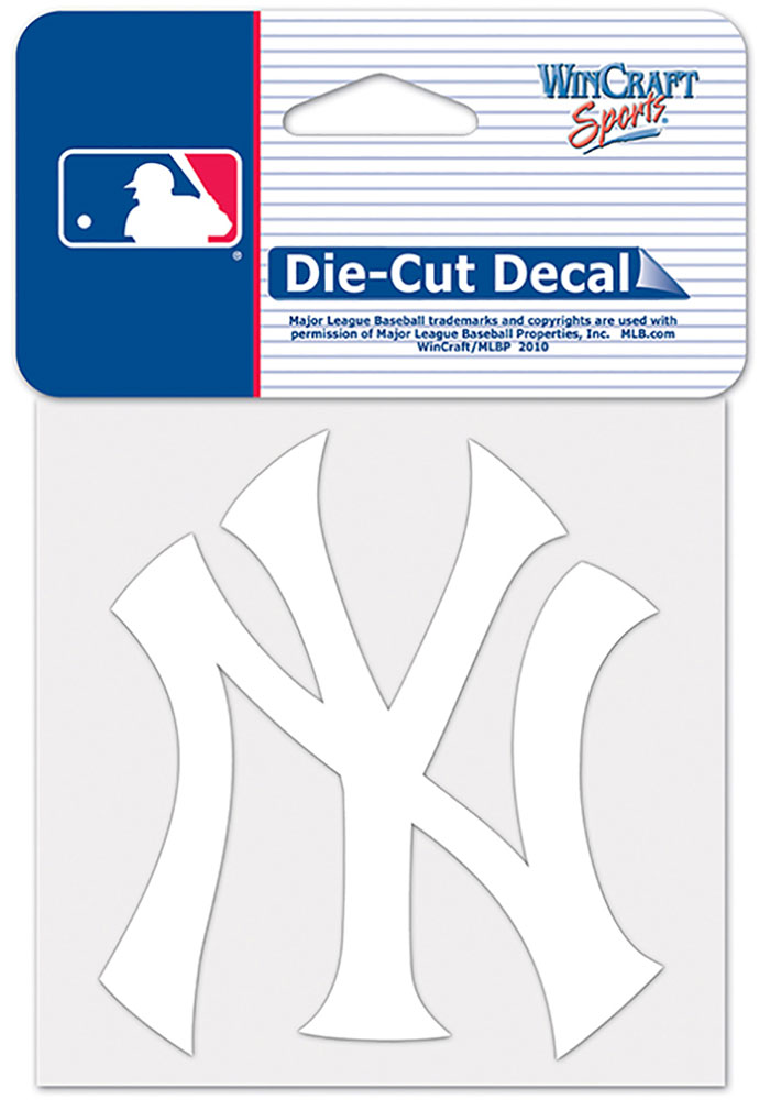 New York Yankees 4x4 White Auto Decal - White