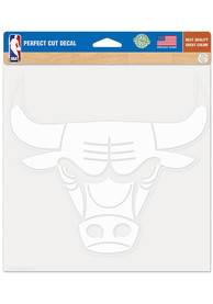 Chicago Bulls 8x8 White Auto Decal - White