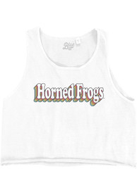 Womens TCU Horned Frogs Cropped Ringspun Tank Top - White