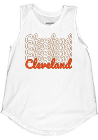 Cleveland Women's Repeating Wordmark Muscle Tank - White